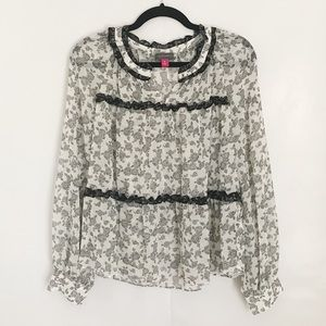 Vince Camuto Sheer Black and White Blouse